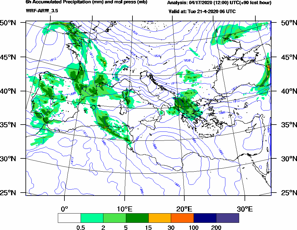 6h Accumulated Precipitation (mm) and msl press (mb) - 2020-04-21 00:00