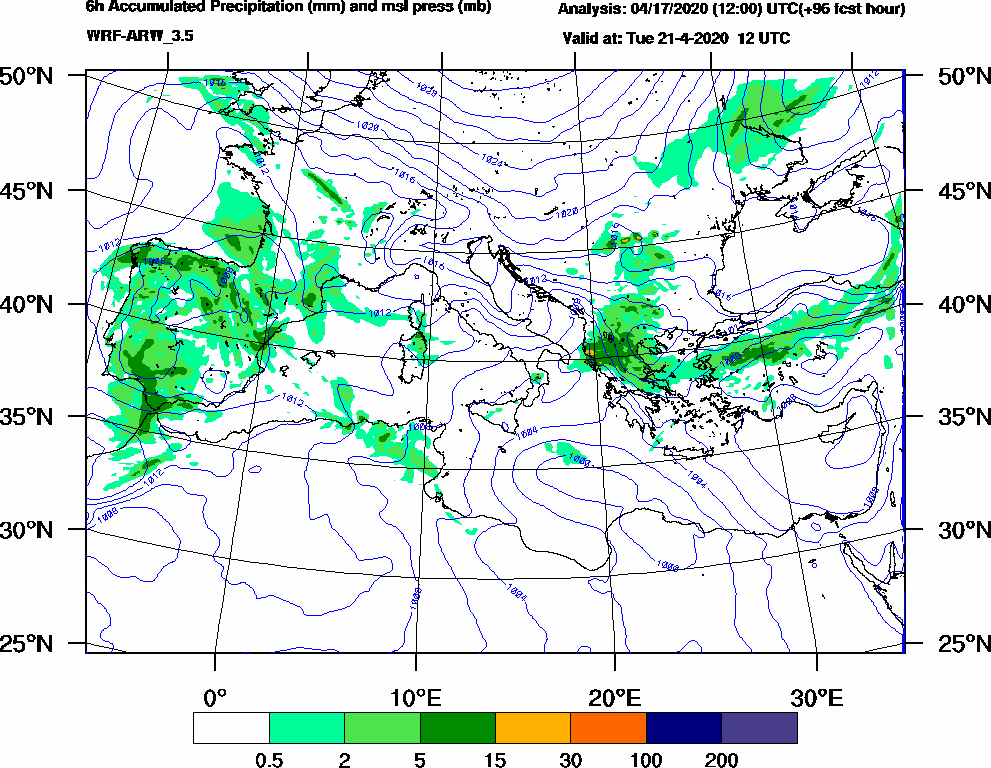 6h Accumulated Precipitation (mm) and msl press (mb) - 2020-04-21 06:00