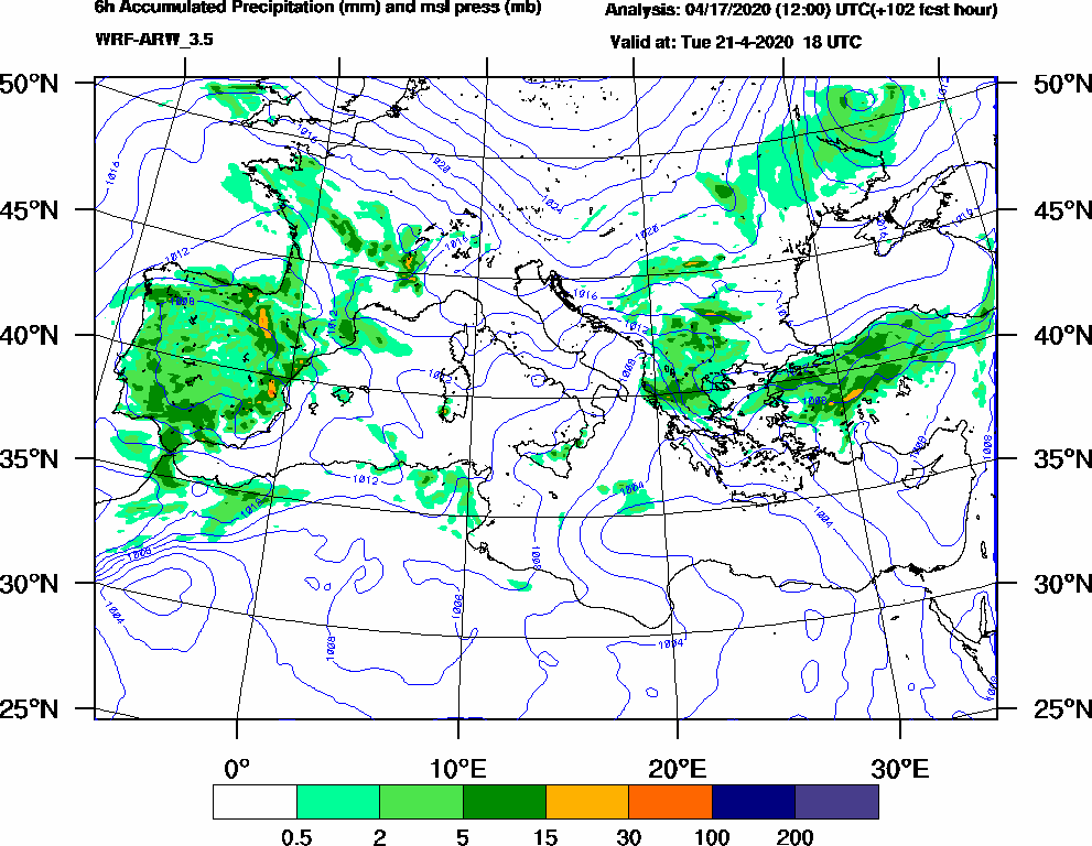 6h Accumulated Precipitation (mm) and msl press (mb) - 2020-04-21 12:00