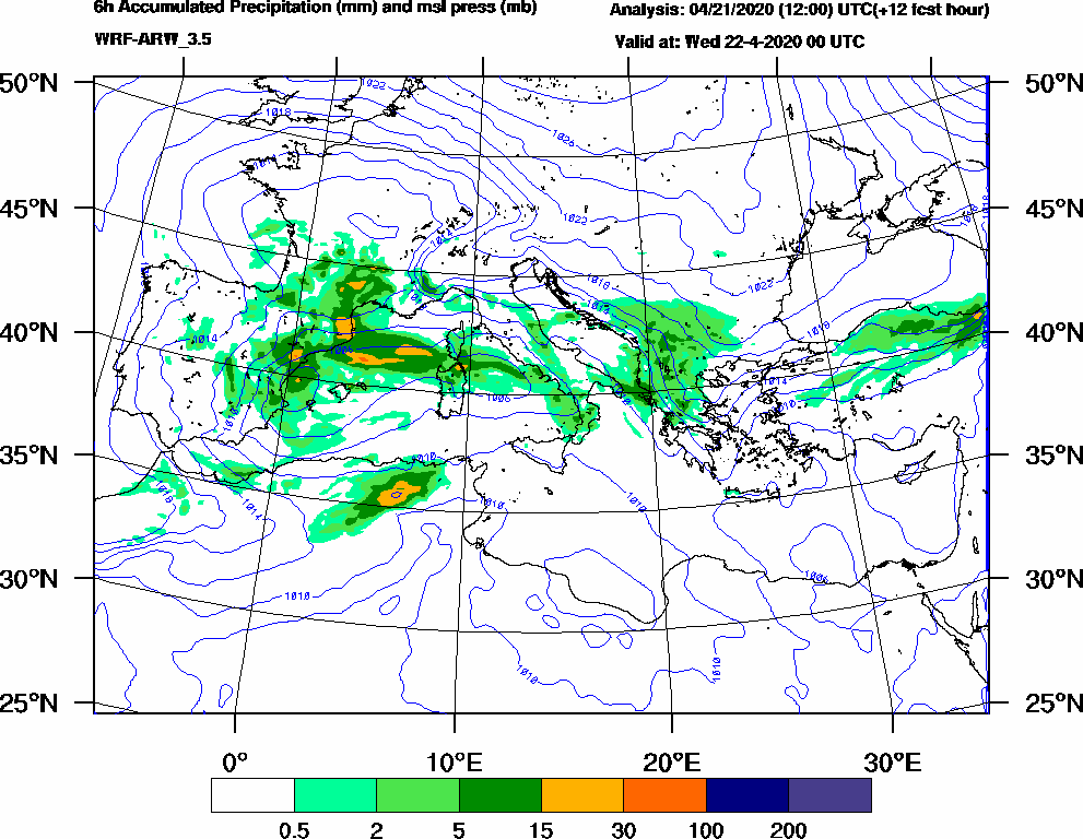 6h Accumulated Precipitation (mm) and msl press (mb) - 2020-04-21 18:00