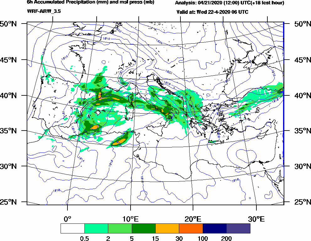 6h Accumulated Precipitation (mm) and msl press (mb) - 2020-04-22 00:00