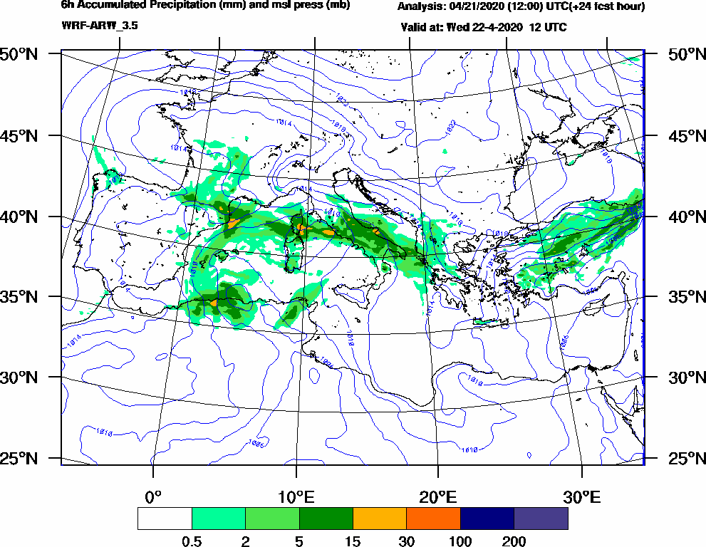 6h Accumulated Precipitation (mm) and msl press (mb) - 2020-04-22 06:00