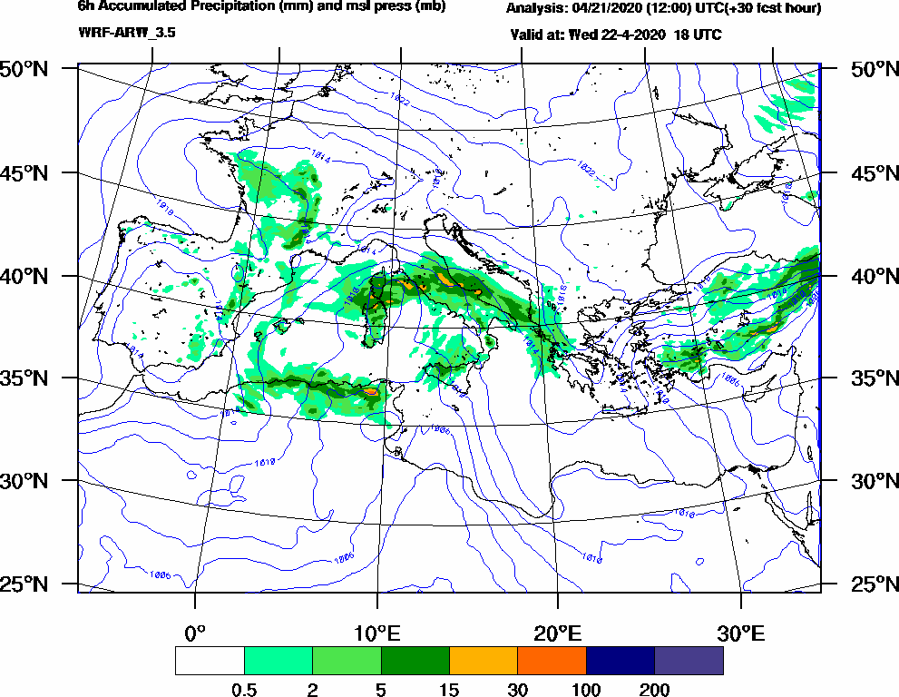 6h Accumulated Precipitation (mm) and msl press (mb) - 2020-04-22 12:00