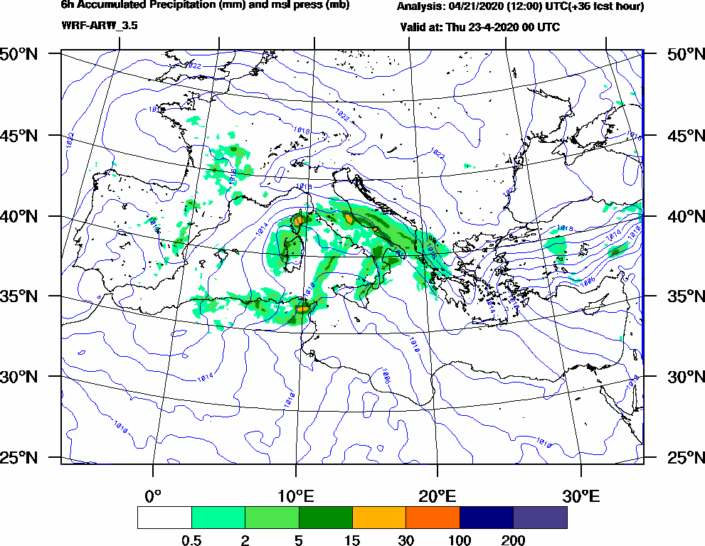 6h Accumulated Precipitation (mm) and msl press (mb) - 2020-04-22 18:00