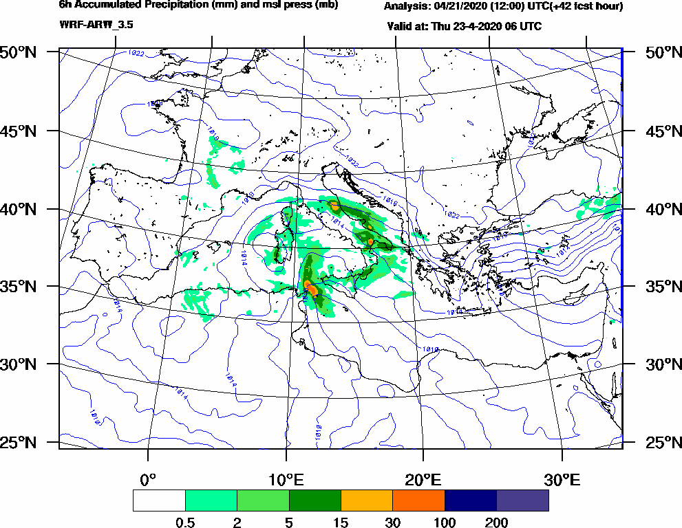 6h Accumulated Precipitation (mm) and msl press (mb) - 2020-04-23 00:00