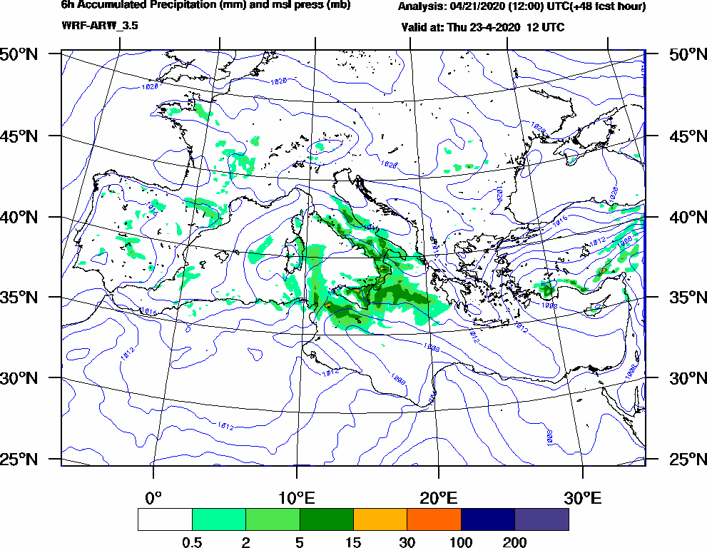 6h Accumulated Precipitation (mm) and msl press (mb) - 2020-04-23 06:00