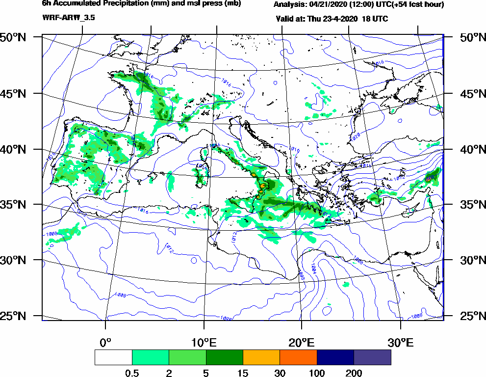 6h Accumulated Precipitation (mm) and msl press (mb) - 2020-04-23 12:00