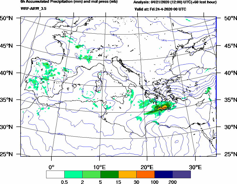 6h Accumulated Precipitation (mm) and msl press (mb) - 2020-04-23 18:00