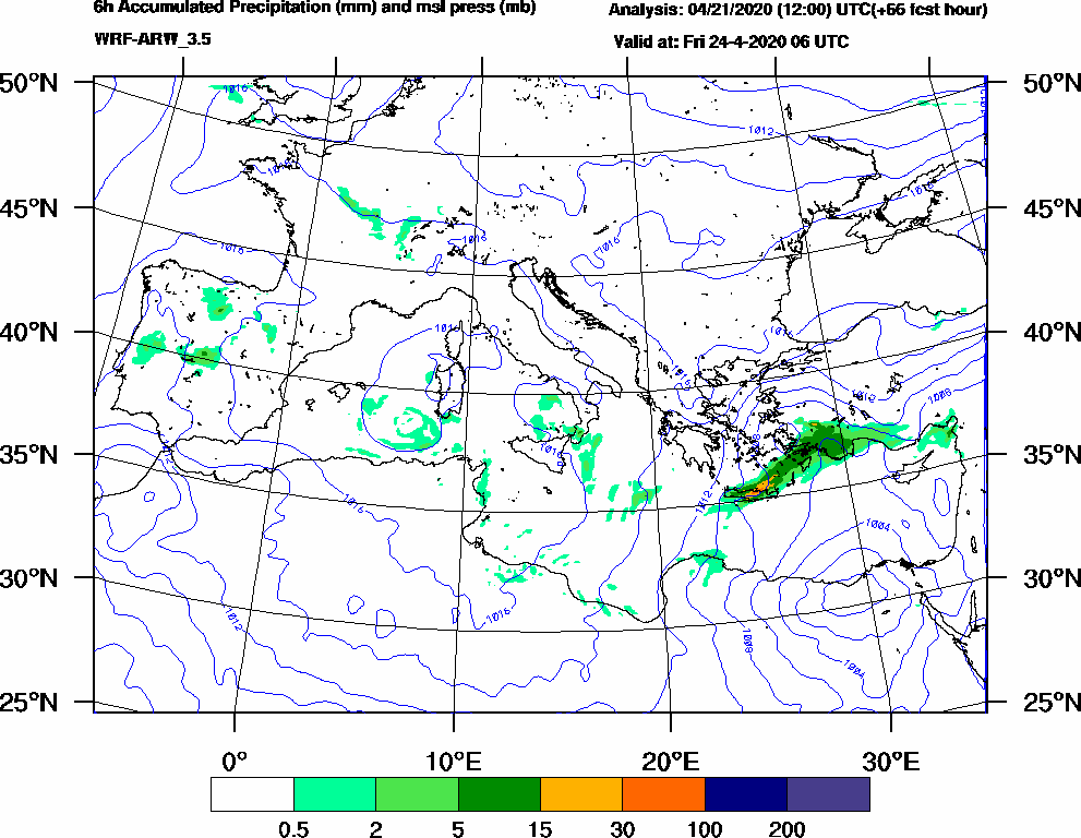 6h Accumulated Precipitation (mm) and msl press (mb) - 2020-04-24 00:00