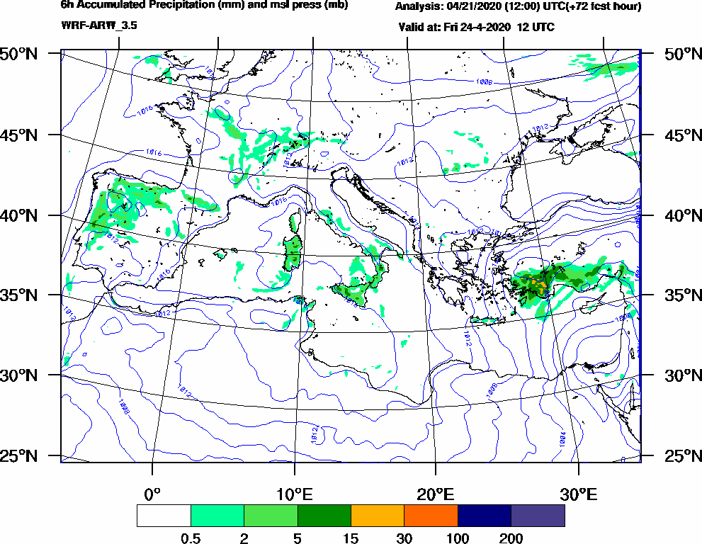 6h Accumulated Precipitation (mm) and msl press (mb) - 2020-04-24 06:00