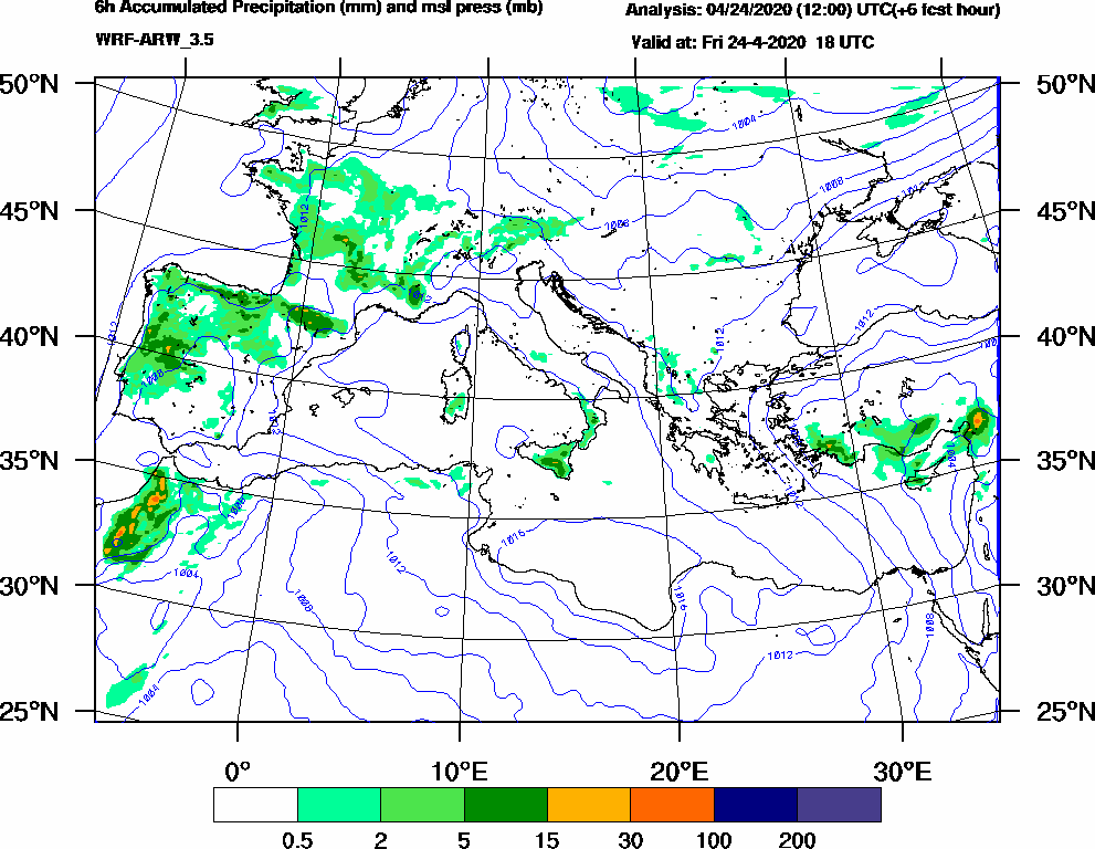 6h Accumulated Precipitation (mm) and msl press (mb) - 2020-04-24 12:00