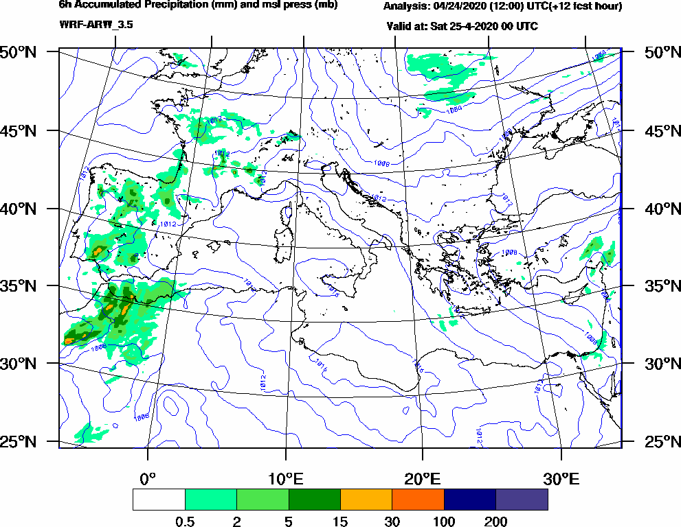 6h Accumulated Precipitation (mm) and msl press (mb) - 2020-04-24 18:00