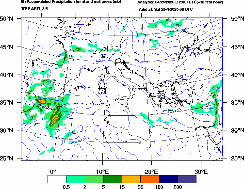 6h Accumulated Precipitation (mm) and msl press (mb) - 2020-04-25 00:00