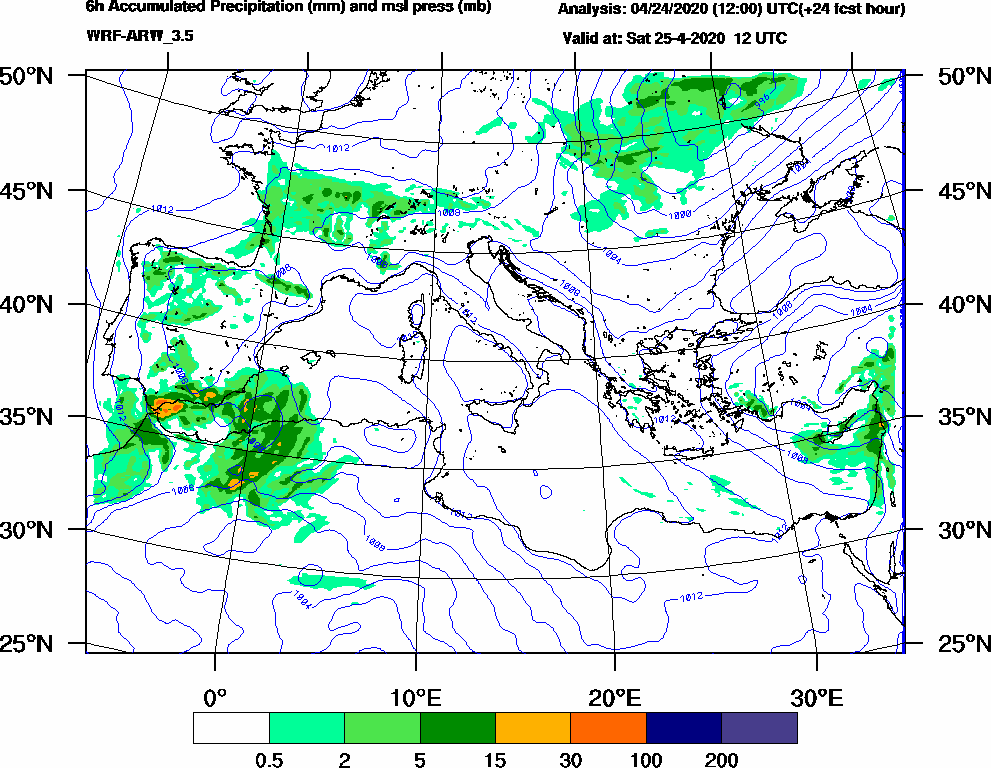 6h Accumulated Precipitation (mm) and msl press (mb) - 2020-04-25 06:00