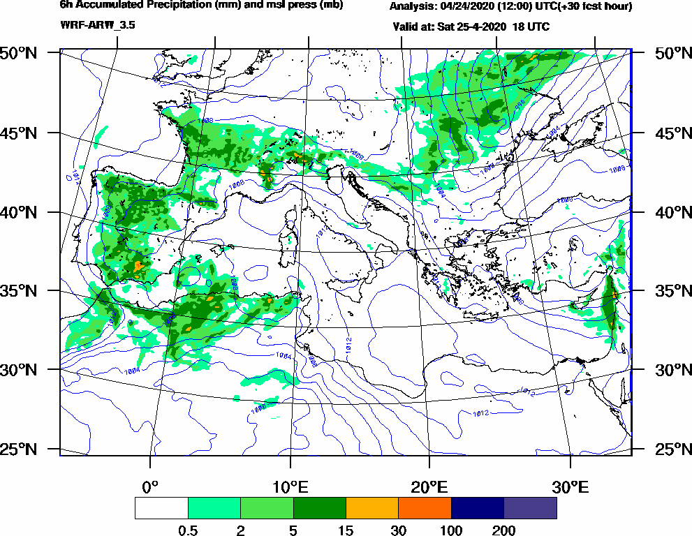 6h Accumulated Precipitation (mm) and msl press (mb) - 2020-04-25 12:00