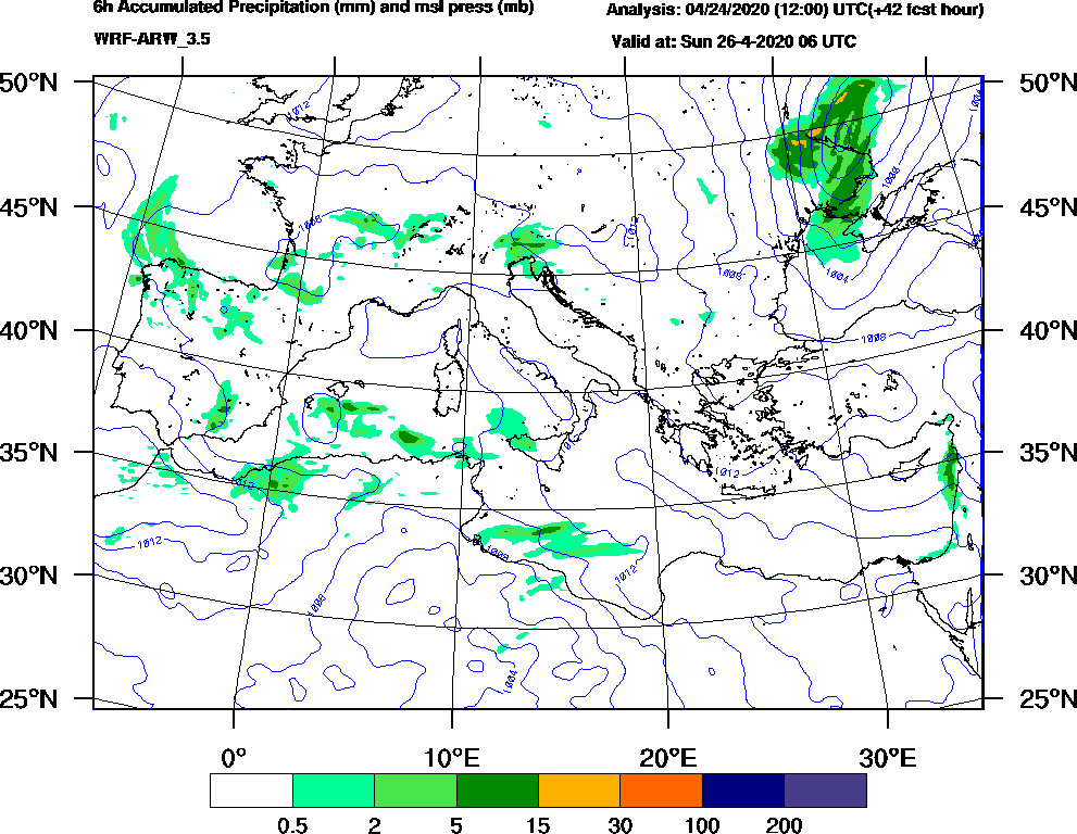 6h Accumulated Precipitation (mm) and msl press (mb) - 2020-04-26 00:00