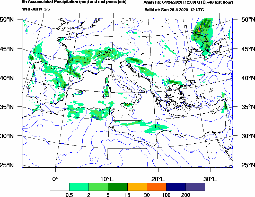 6h Accumulated Precipitation (mm) and msl press (mb) - 2020-04-26 06:00