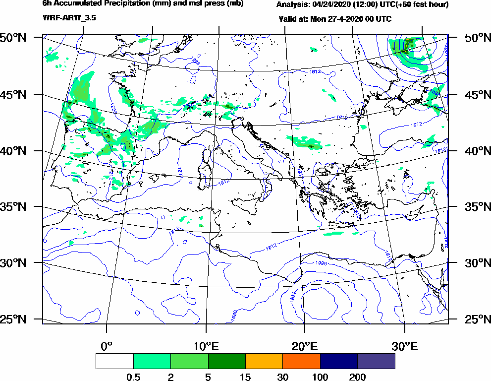 6h Accumulated Precipitation (mm) and msl press (mb) - 2020-04-26 18:00