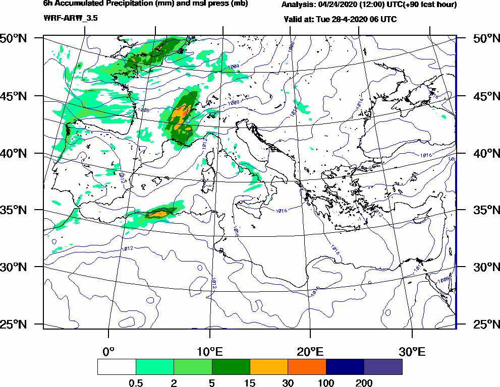 6h Accumulated Precipitation (mm) and msl press (mb) - 2020-04-28 00:00