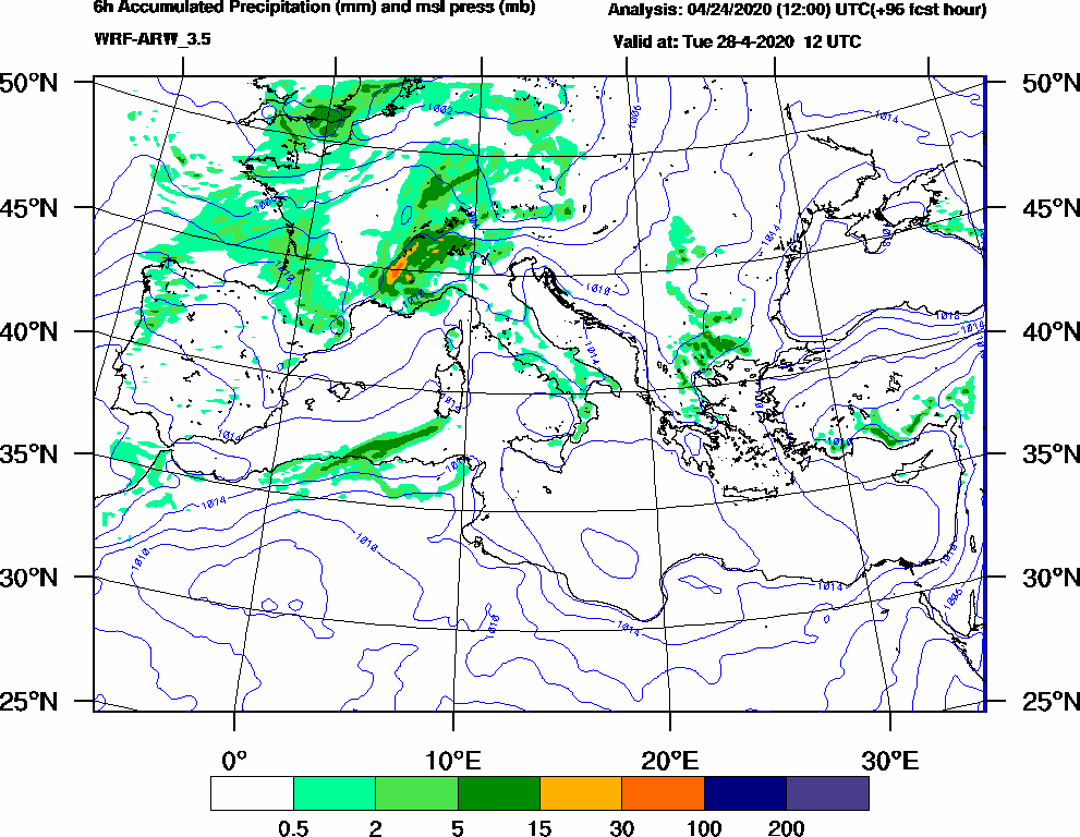 6h Accumulated Precipitation (mm) and msl press (mb) - 2020-04-28 06:00