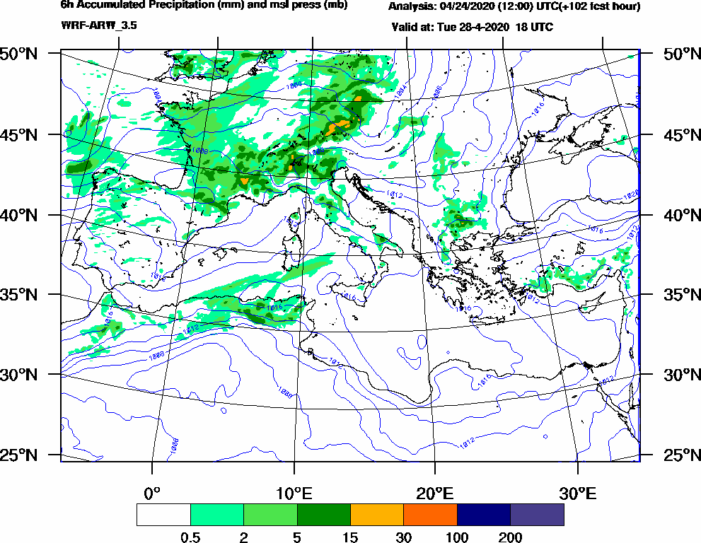 6h Accumulated Precipitation (mm) and msl press (mb) - 2020-04-28 12:00