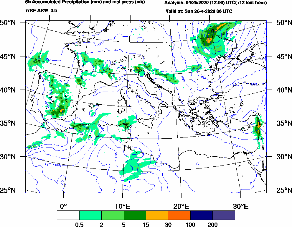 6h Accumulated Precipitation (mm) and msl press (mb) - 2020-04-25 18:00