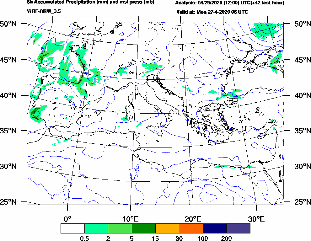 6h Accumulated Precipitation (mm) and msl press (mb) - 2020-04-27 00:00