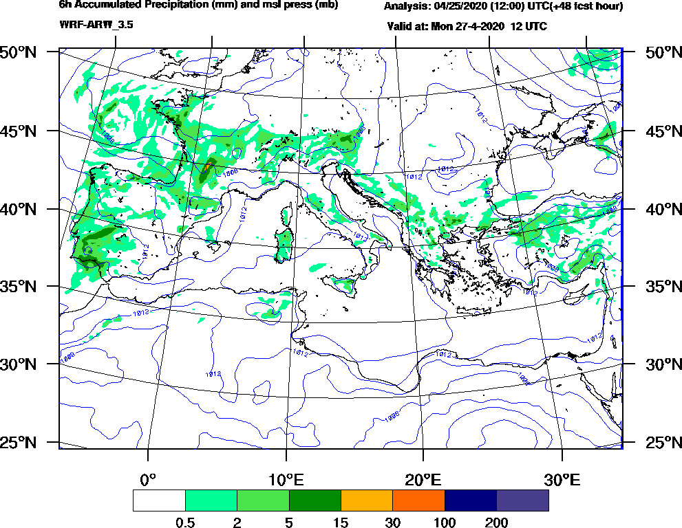 6h Accumulated Precipitation (mm) and msl press (mb) - 2020-04-27 06:00