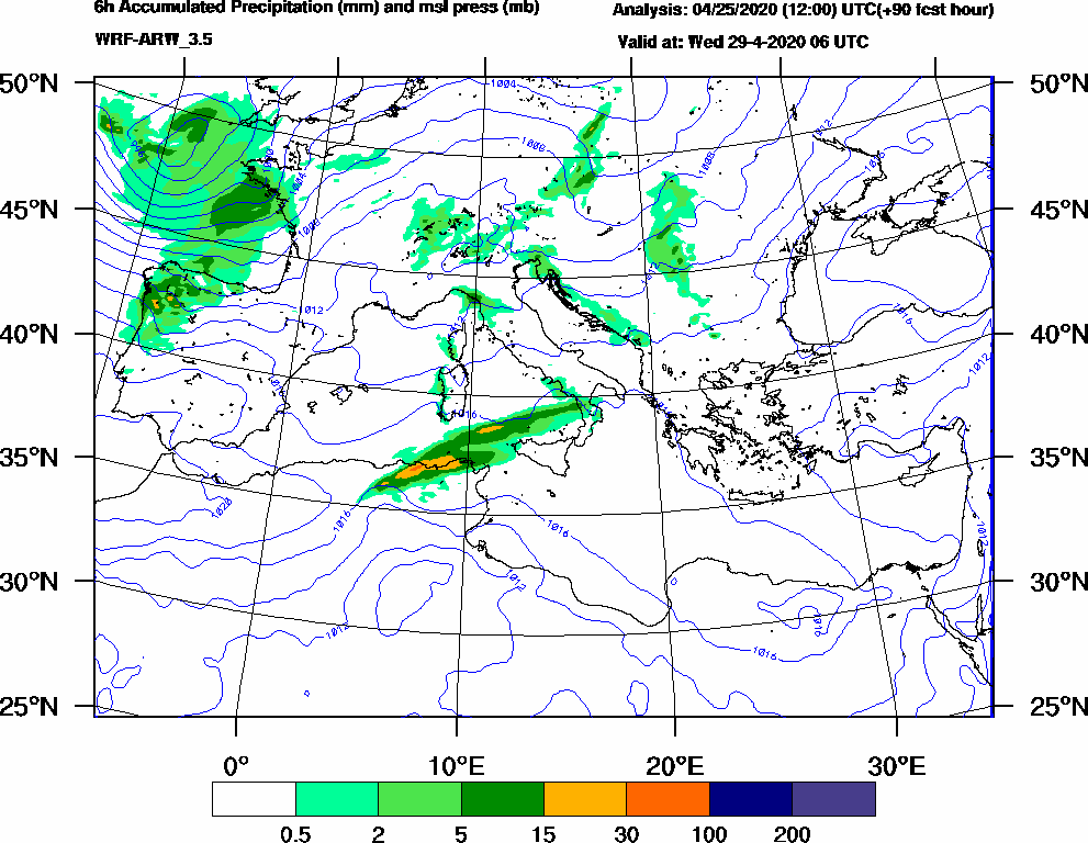 6h Accumulated Precipitation (mm) and msl press (mb) - 2020-04-29 00:00