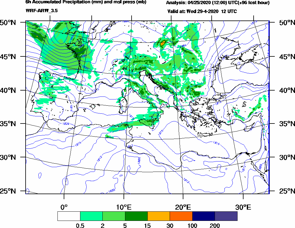 6h Accumulated Precipitation (mm) and msl press (mb) - 2020-04-29 06:00
