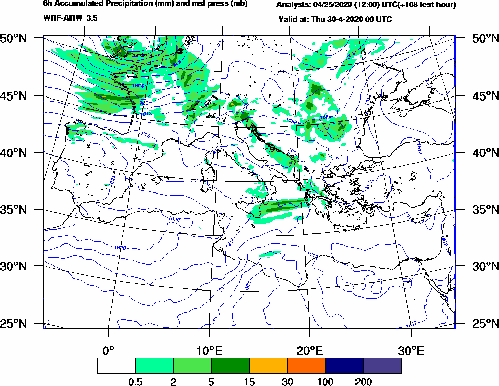 6h Accumulated Precipitation (mm) and msl press (mb) - 2020-04-29 18:00
