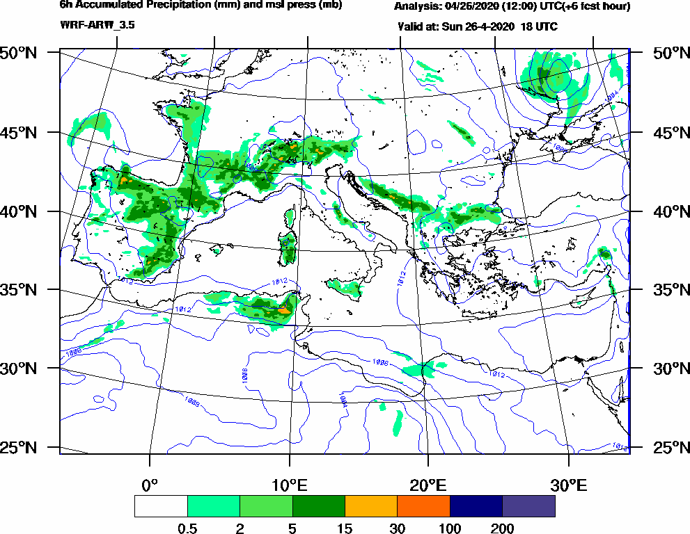 6h Accumulated Precipitation (mm) and msl press (mb) - 2020-04-26 12:00