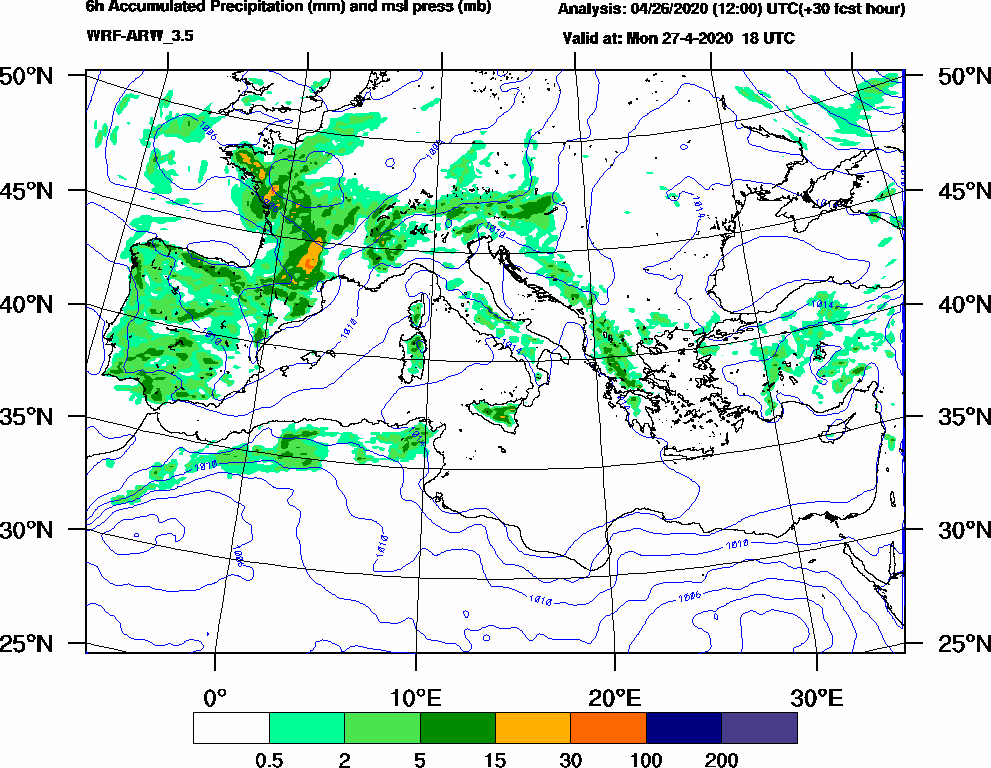 6h Accumulated Precipitation (mm) and msl press (mb) - 2020-04-27 12:00
