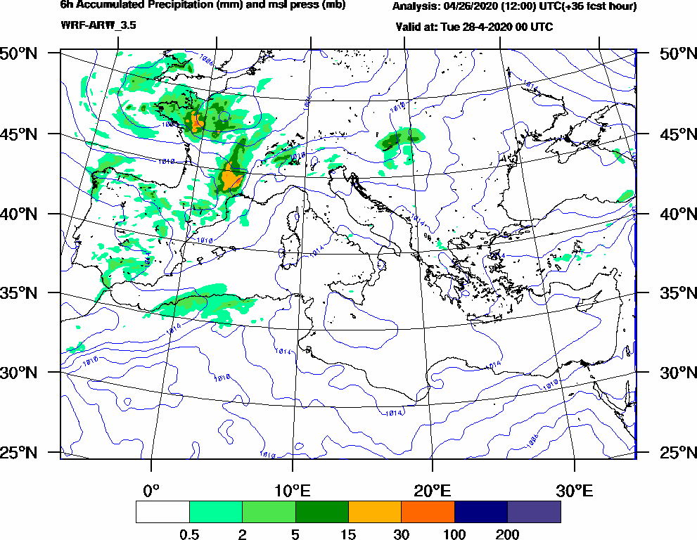 6h Accumulated Precipitation (mm) and msl press (mb) - 2020-04-27 18:00
