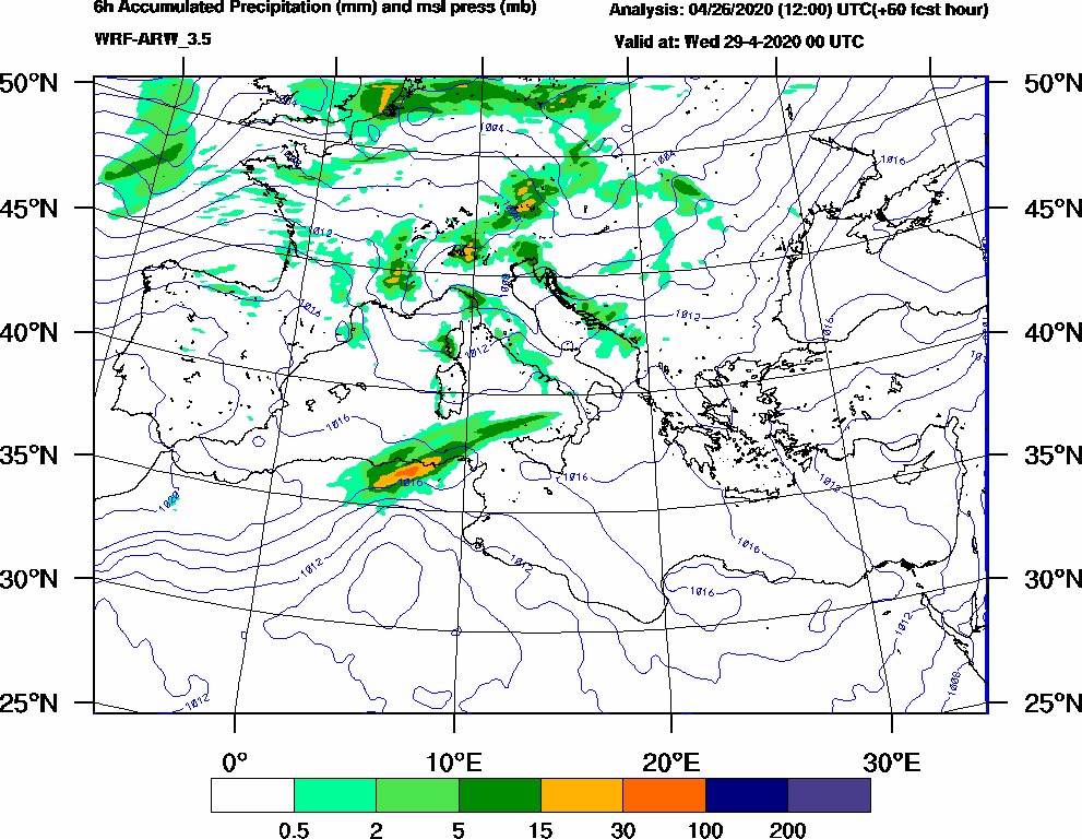 6h Accumulated Precipitation (mm) and msl press (mb) - 2020-04-28 18:00