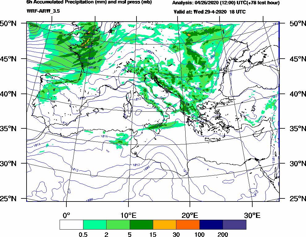 6h Accumulated Precipitation (mm) and msl press (mb) - 2020-04-29 12:00
