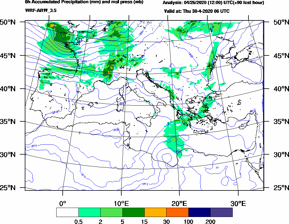 6h Accumulated Precipitation (mm) and msl press (mb) - 2020-04-30 00:00