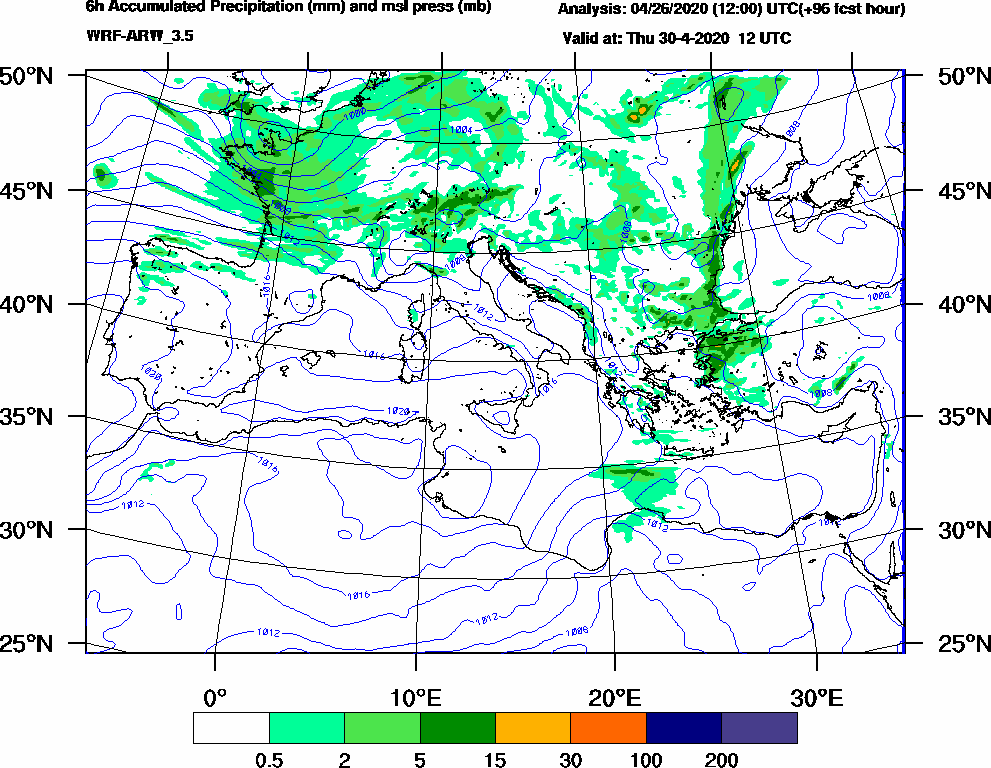 6h Accumulated Precipitation (mm) and msl press (mb) - 2020-04-30 06:00