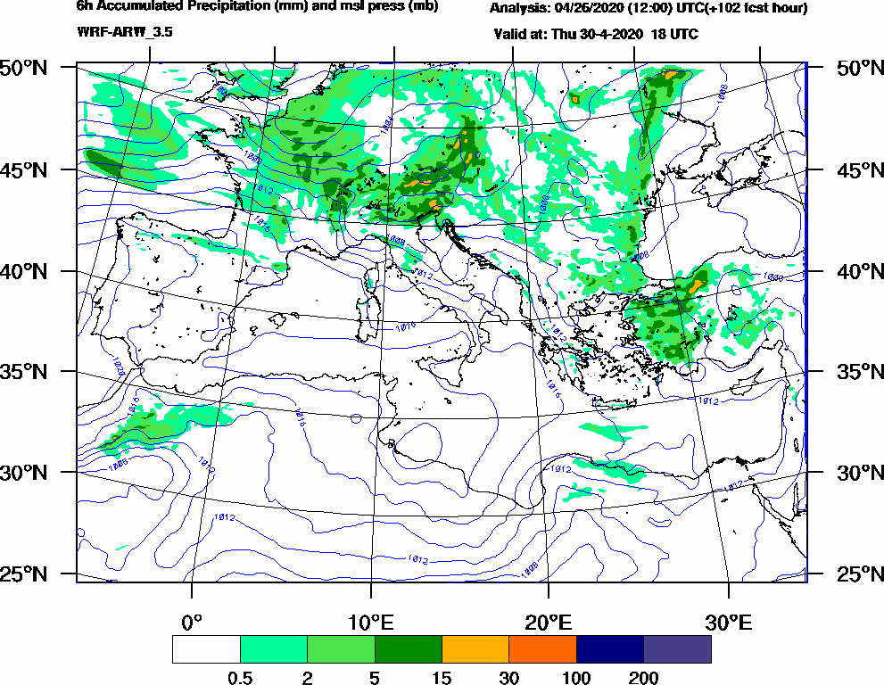 6h Accumulated Precipitation (mm) and msl press (mb) - 2020-04-30 12:00