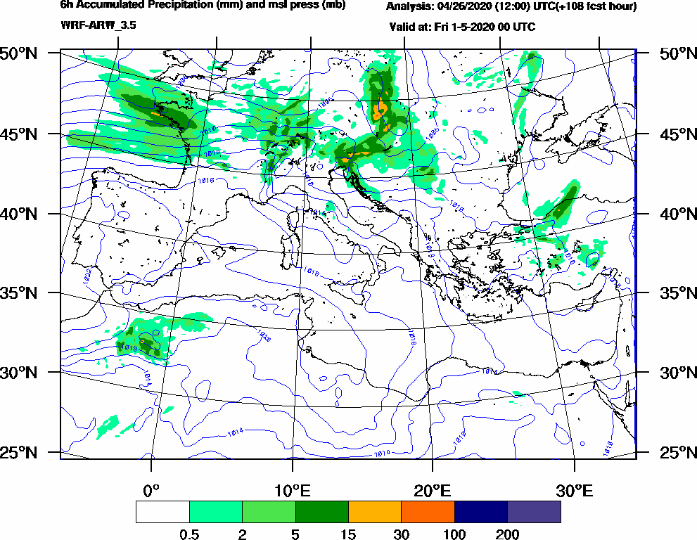 6h Accumulated Precipitation (mm) and msl press (mb) - 2020-04-30 18:00
