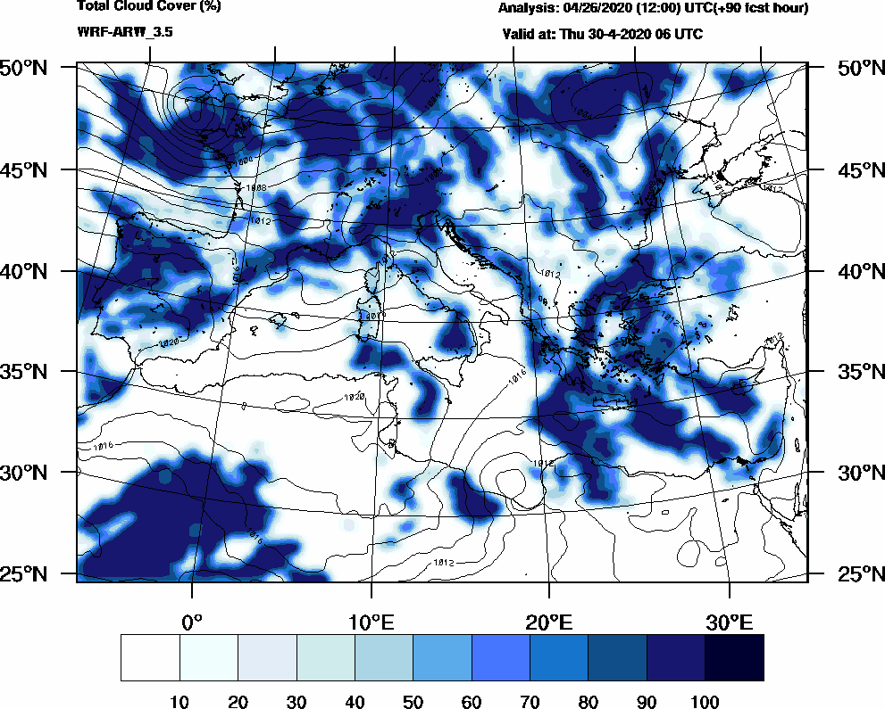 Total cloud cover (%) - 2020-04-30 00:00