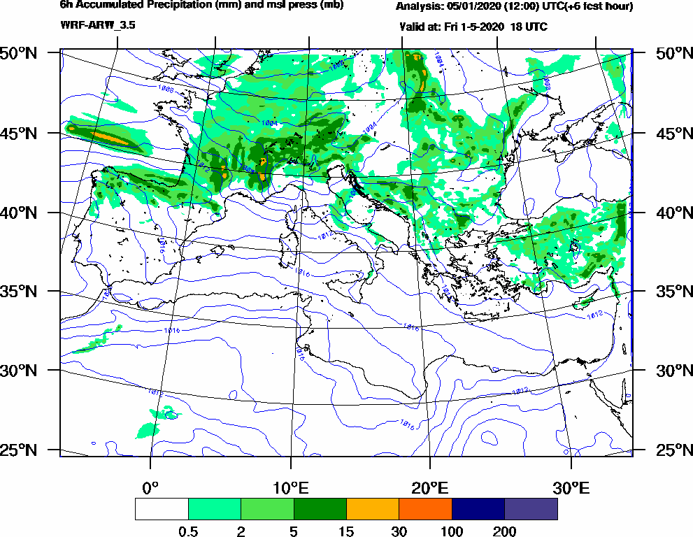 6h Accumulated Precipitation (mm) and msl press (mb) - 2020-05-01 12:00
