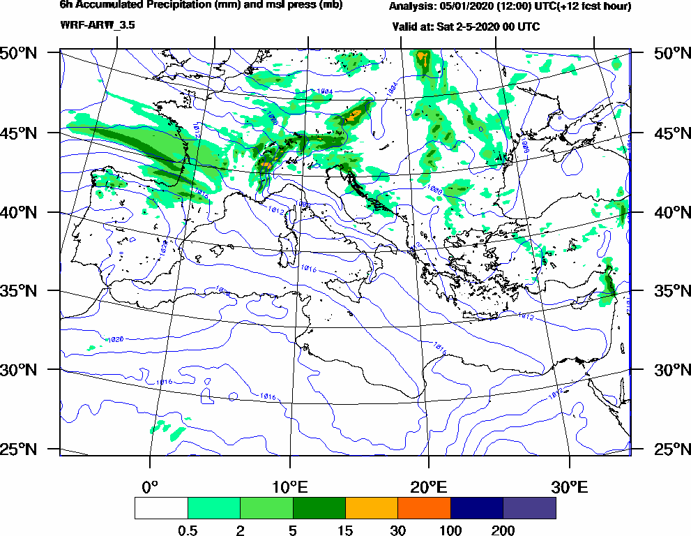 6h Accumulated Precipitation (mm) and msl press (mb) - 2020-05-01 18:00