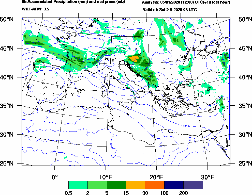 6h Accumulated Precipitation (mm) and msl press (mb) - 2020-05-02 00:00