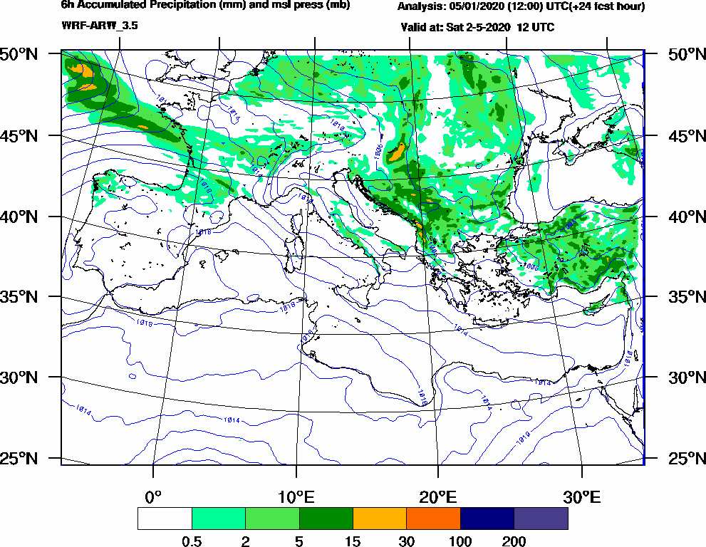 6h Accumulated Precipitation (mm) and msl press (mb) - 2020-05-02 06:00