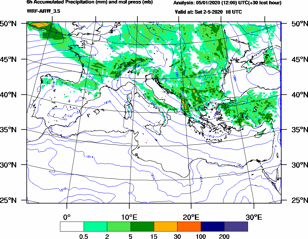 6h Accumulated Precipitation (mm) and msl press (mb) - 2020-05-02 12:00