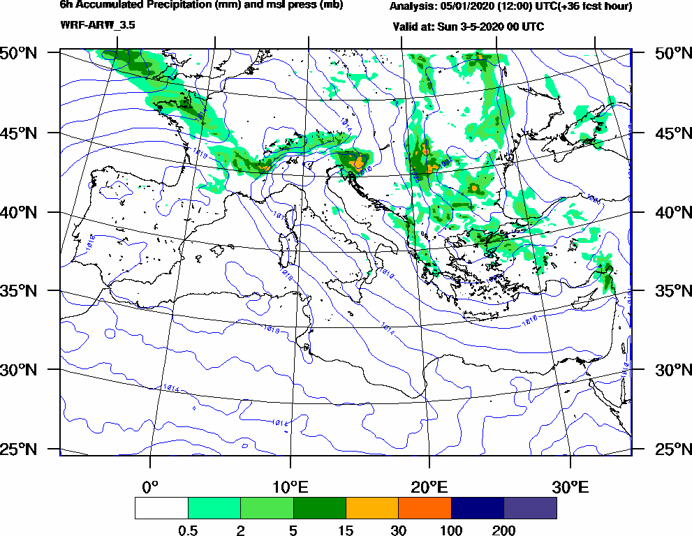 6h Accumulated Precipitation (mm) and msl press (mb) - 2020-05-02 18:00