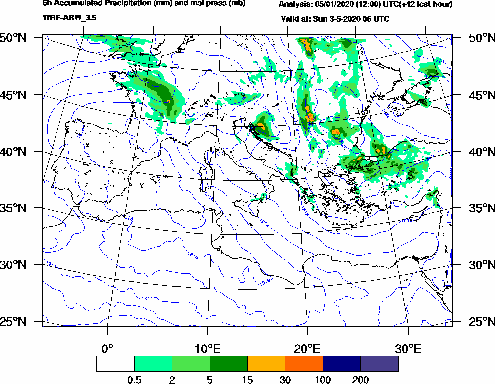 6h Accumulated Precipitation (mm) and msl press (mb) - 2020-05-03 00:00
