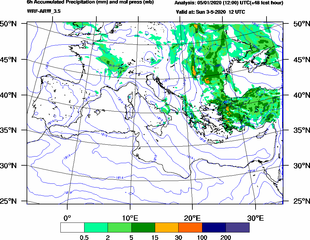 6h Accumulated Precipitation (mm) and msl press (mb) - 2020-05-03 06:00