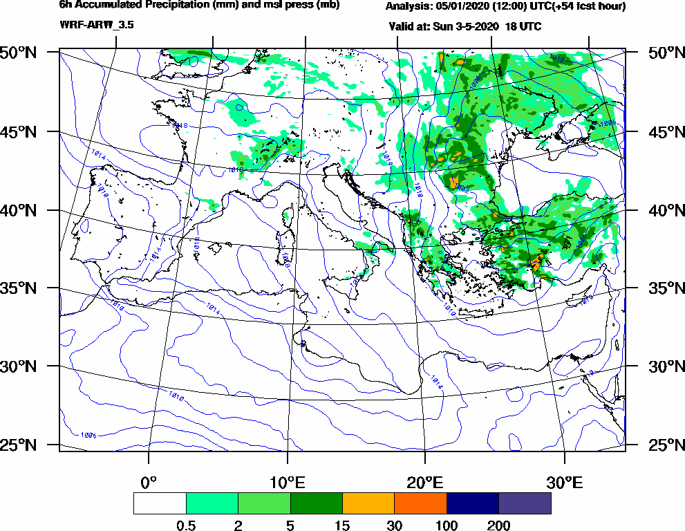 6h Accumulated Precipitation (mm) and msl press (mb) - 2020-05-03 12:00